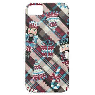 Christmas Nutcracker Plaid Blue Burgundy iPhone 5 Covers