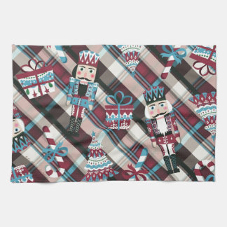 Christmas Nutcracker Plaid Blue Burgundy Tea Towel