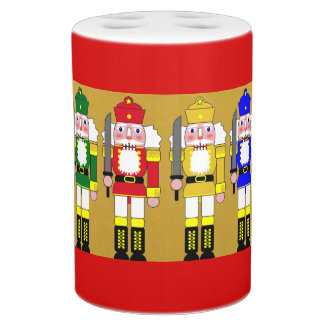 Christmas Nutcrackers Soap Dispenser And Toothbrush Holder