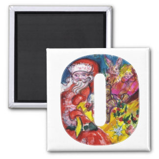 CHRISTMAS O LETTER  / SANTA  WITH GIFTS MONOGRAM SQUARE MAGNET