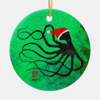 Christmas Octopus 2 - Circle Ornament