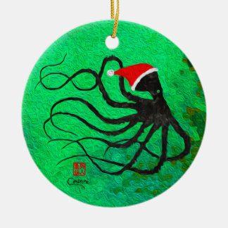 Christmas Octopus - Circle Ornament