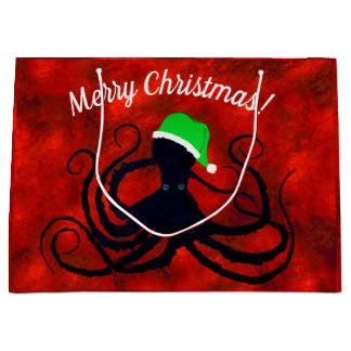 Christmas Octopus On Red - Large Gift Bag