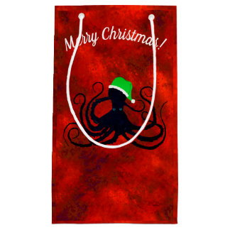 Christmas Octopus On Red - Small Gift Bag