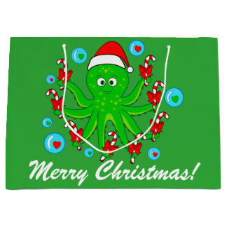 Christmas Octopus with Candy Canes Large Gift Bag