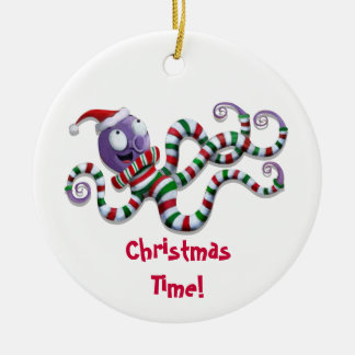 Christmas Octopus with stripes Christmas Ornament