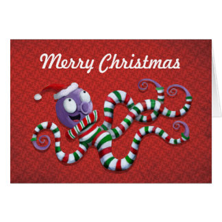 Christmas Octopus with stripes Greeting Card