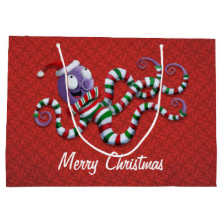 Christmas Octopus with stripes Large Gift Bag
