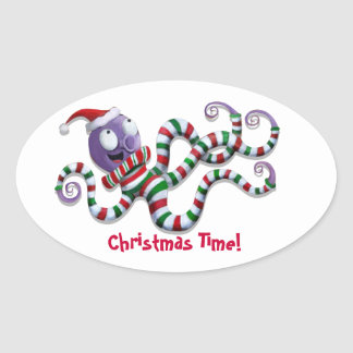 Christmas Octopus with stripes Oval Stickers