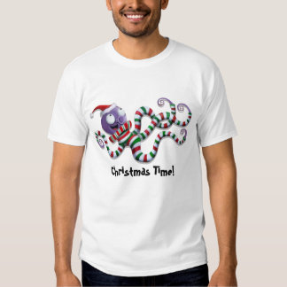 Christmas Octopus with stripes T-shirt