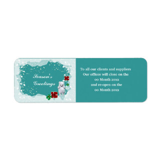 Christmas office closed opens dates clients return address label