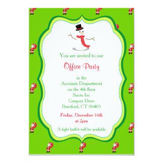 Christmas Office Party Invitation-Snowman Graphic 13 Cm X 18 Cm Invitation Card