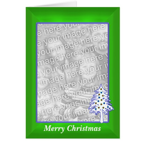 Christmas on Green (tall photo frame) Greeting Card
