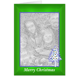 Christmas on Green (tall photo frame) Greeting Card