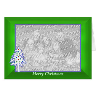 Christmas on Green (wide) photo frame Greeting Card