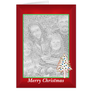 Christmas on Red (tall photo frame) Greeting Card