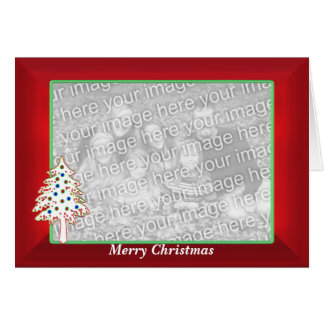 Christmas on Red (wide photo frame) Greeting Card