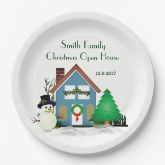 """Christmas Open House Paper Plates 9"""""""