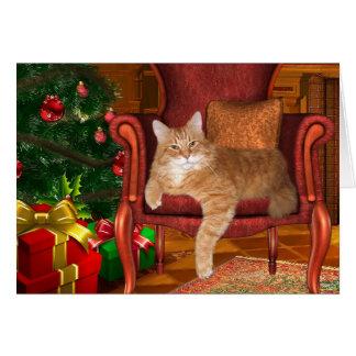 Christmas orange tabby greeting card