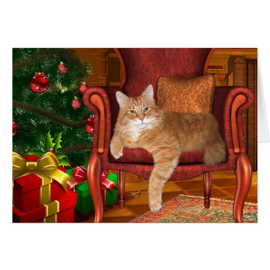 Christmas orange tabby card