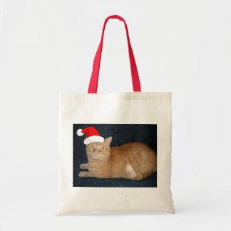 Christmas Orange Tabby Cat Canvas Bags