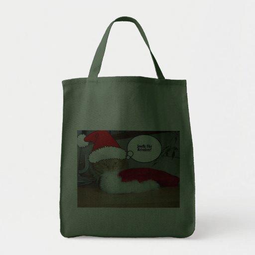 Christmas Orange Tabby Cat Canvas Bag