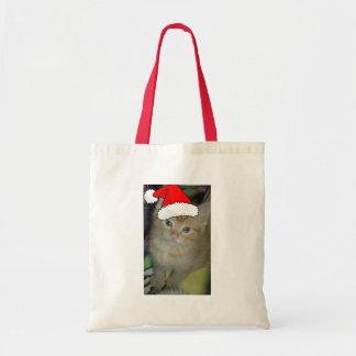 Christmas Orange Tabby Kitten Tote Bag