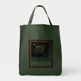 Christmas Orange Tabby Kitten Grocery Tote Bag