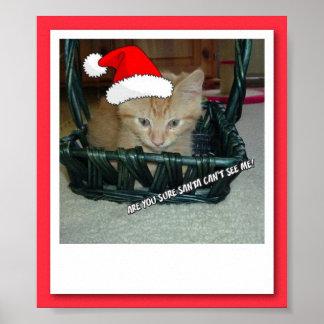 Christmas  Orange Tabby Kitty Cat Poster