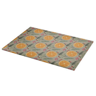 Christmas Orange Wreath Print Cutting Board