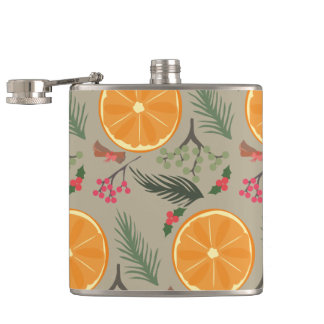 Christmas Orange Wreath Print Hip Flask