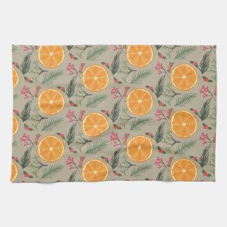 Christmas Orange Wreath Print Kitchen Towel