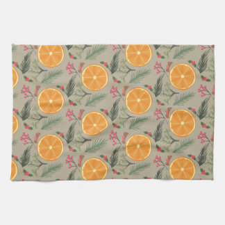 Christmas Orange Wreath Print Tea Towel