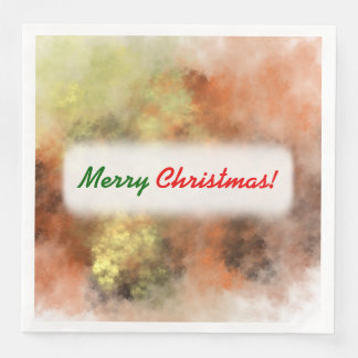 Christmas; Orange, Yellow & Gray Mist-Like Pattern Disposable Serviette