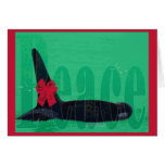 Christmas Orca Red Bow Peace Killer Whale Greeting Card