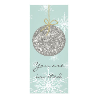 Christmas ornament and snowflakes design invitations