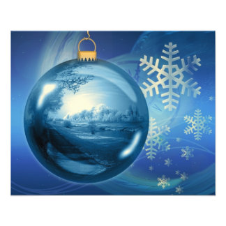 Christmas Ornament Ball Evening Advent Blue 11.5 Cm X 14 Cm Flyer