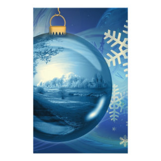 Christmas Ornament Ball Evening Advent Blue Custom Flyer