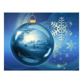 Christmas Ornament Ball Evening Advent Blue Personalized Flyer