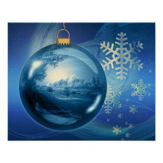 Christmas Ornament Ball Evening Advent Blue Posters