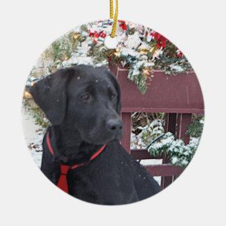 Christmas Ornament~ Black Labrador puppy Round Ceramic Decoration