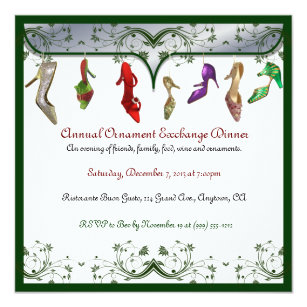 ornament exchange dinner christmas party invitations zazzle uk
