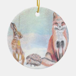 Christmas ornament Featuring a fox, hedgehog