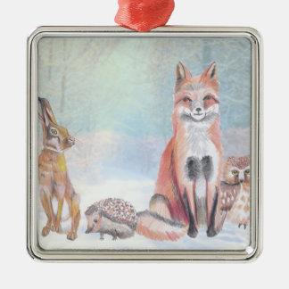 Christmas ornament Featuring a fox, hedgehog, hare