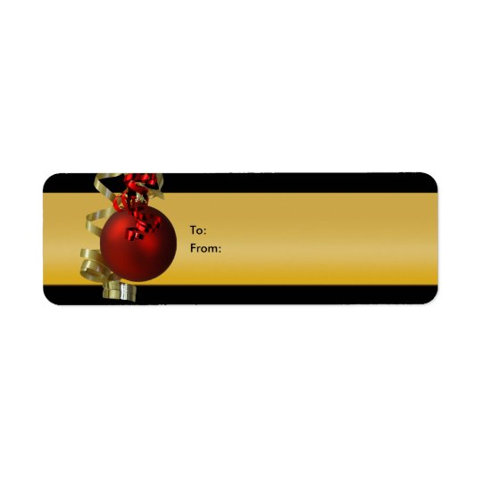 Christmas ornament gift tags ribbons red gold return address label