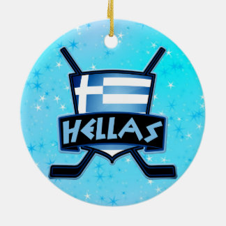 Christmas Ornament Greek Ice Hockey Flags Hellas