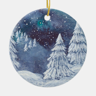 Christmas Ornament hand painted watercolor Winter