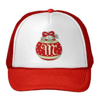 CHRISTMAS ORNAMENT INITIAL M MESH HATS