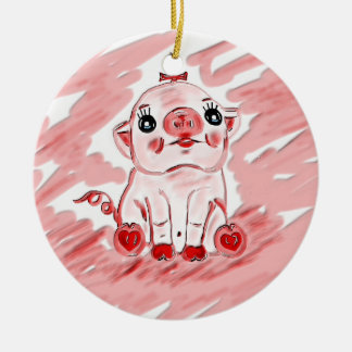 Christmas ornament or gift ornament with pink pig