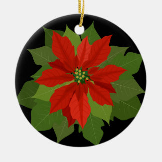 Christmas Ornament-Poinsettia Round Ceramic Decoration